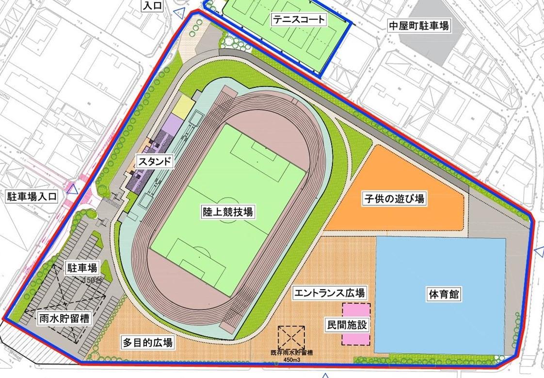 新体育館などの配置イメージ図(西宮市提供)